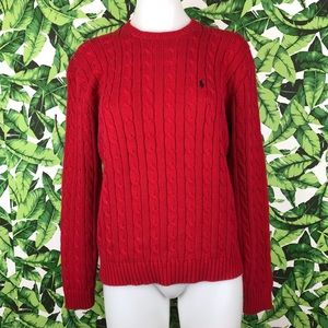 Ralph Lauren Golf Red CableKnit Sweater